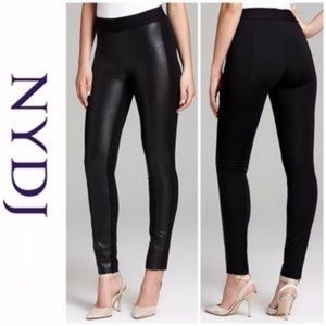 Nydj Faux Leather front Knit Back Leggings 12